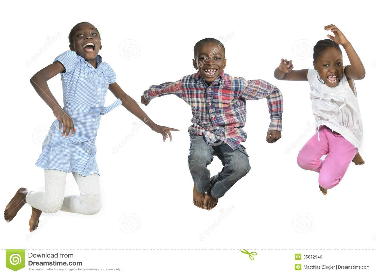 Three African Kids Jum...