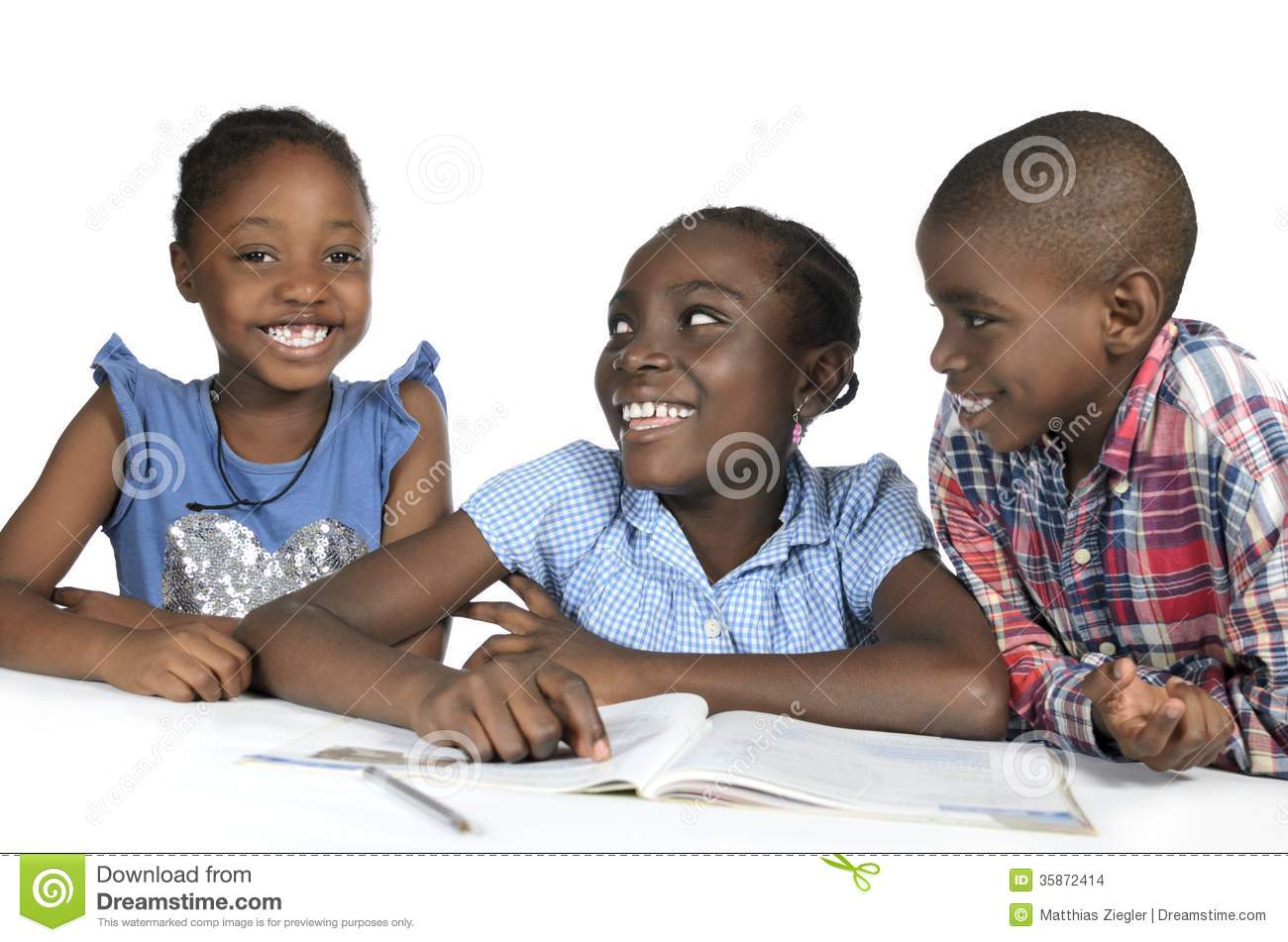 Three african kids learning together