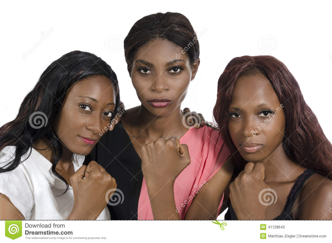 Download Three African Women Showing Fists Stock Image - Image of rights, confident: 41128643