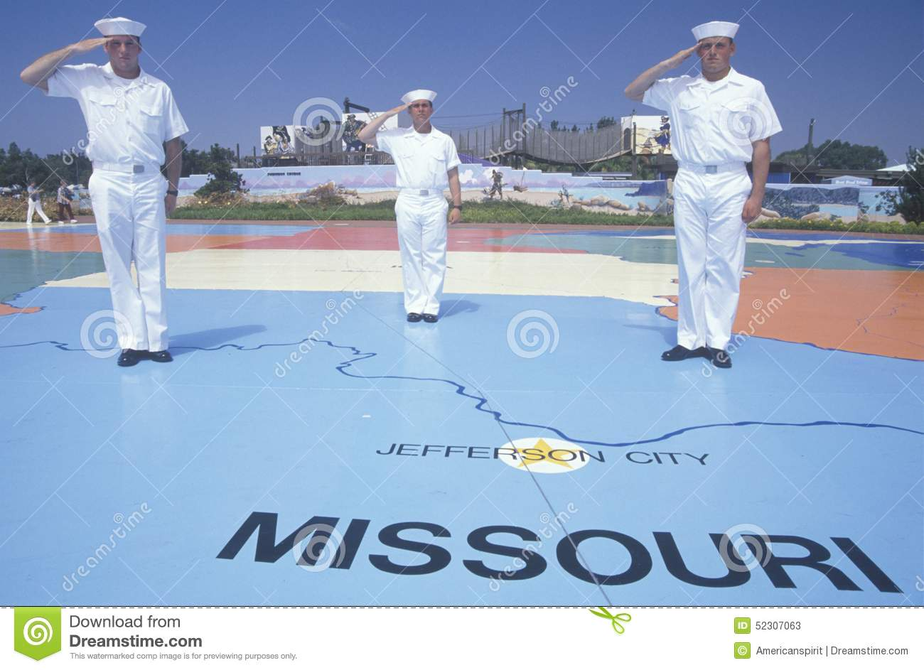 Three American Sailors Standing On Map Of The United States,Sea ...