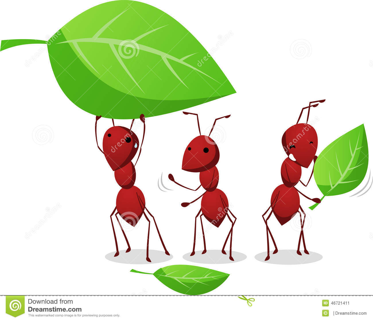 Three Ants Working And Carrying Leafs To The Anthill Stock