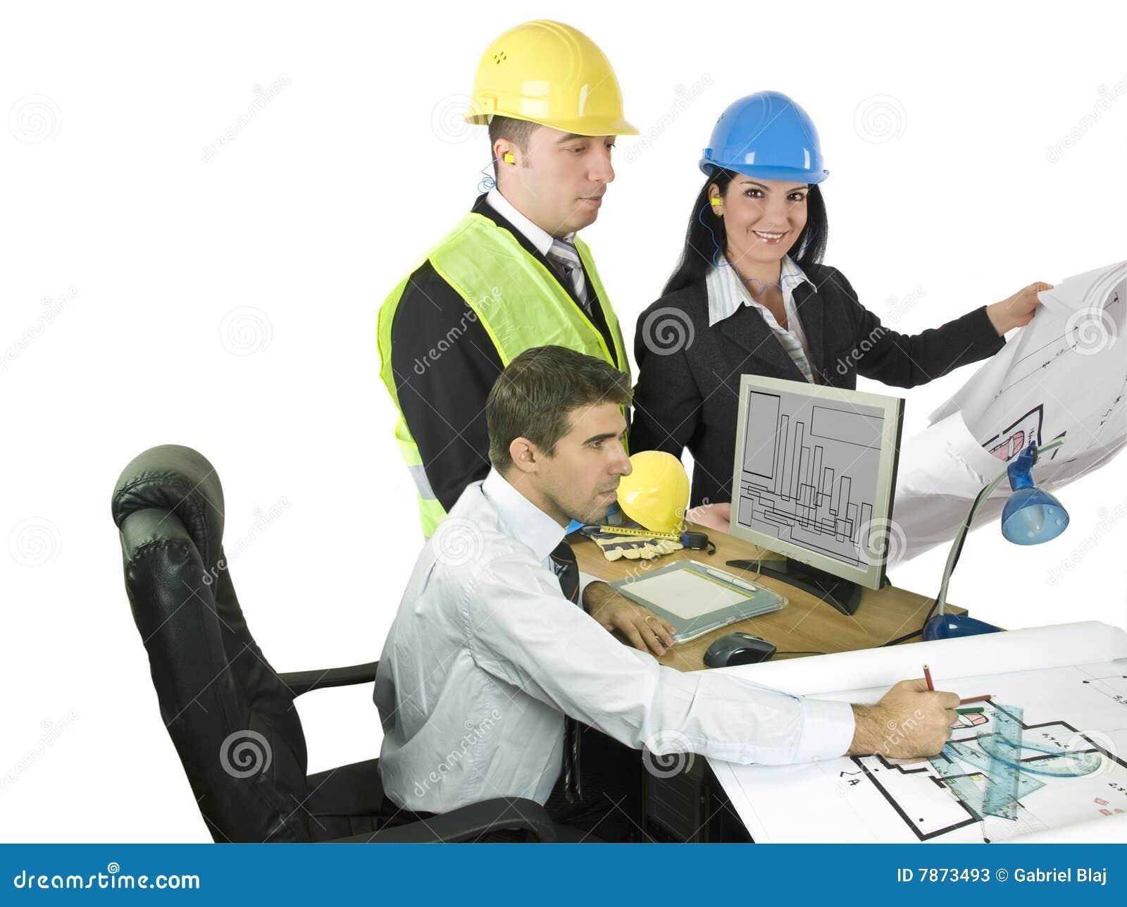 Three architects at office