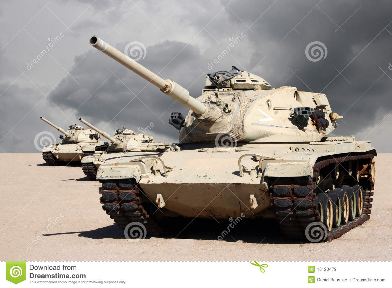 Three Army War Tanks In Desert Stock Image Image 16123479