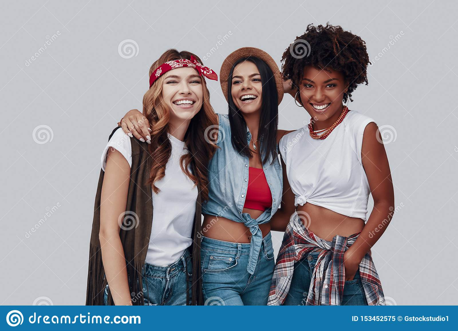Three attractive stylish young women
