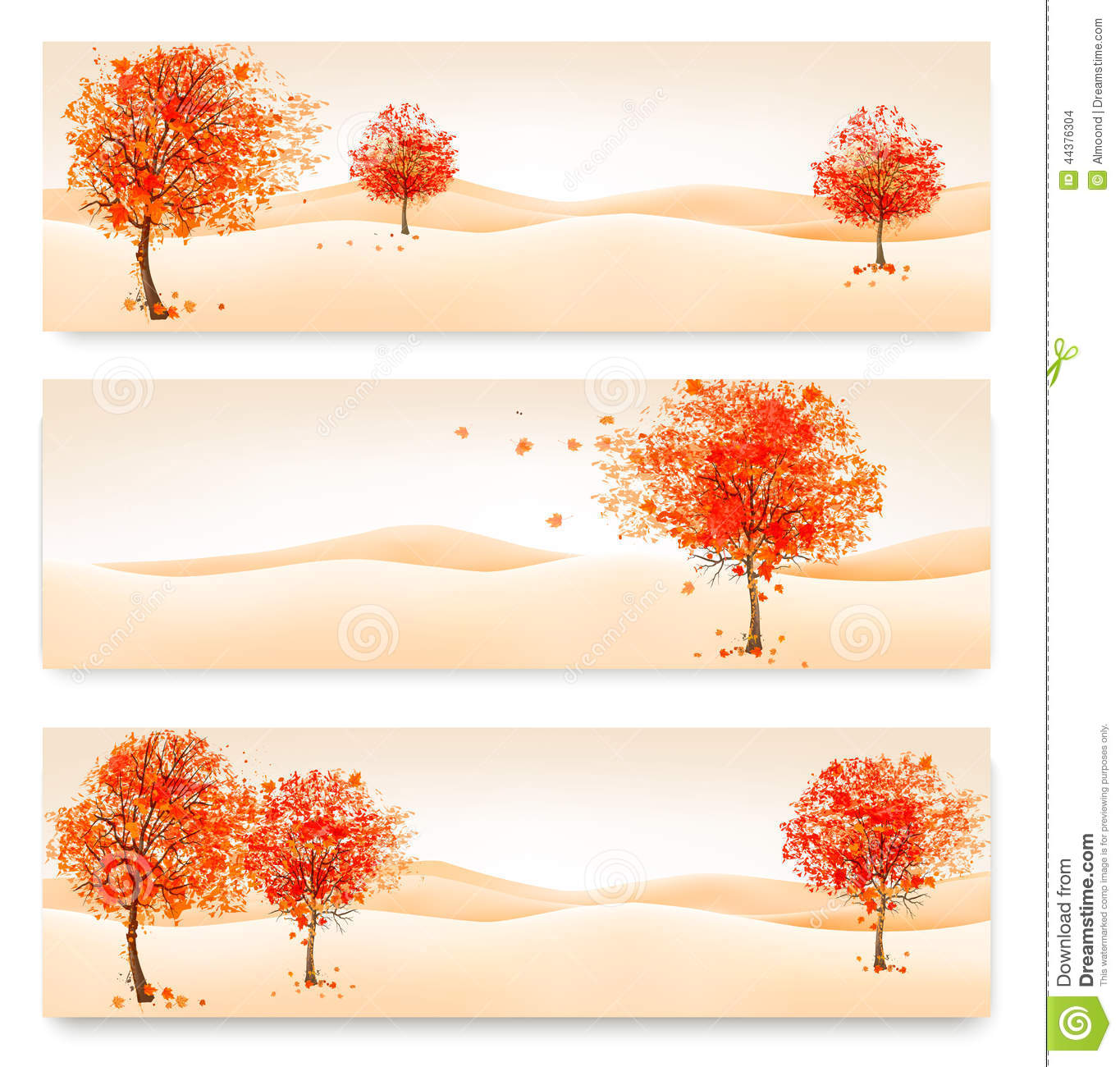Three autumn abstract banners with colorful leaves and trees.