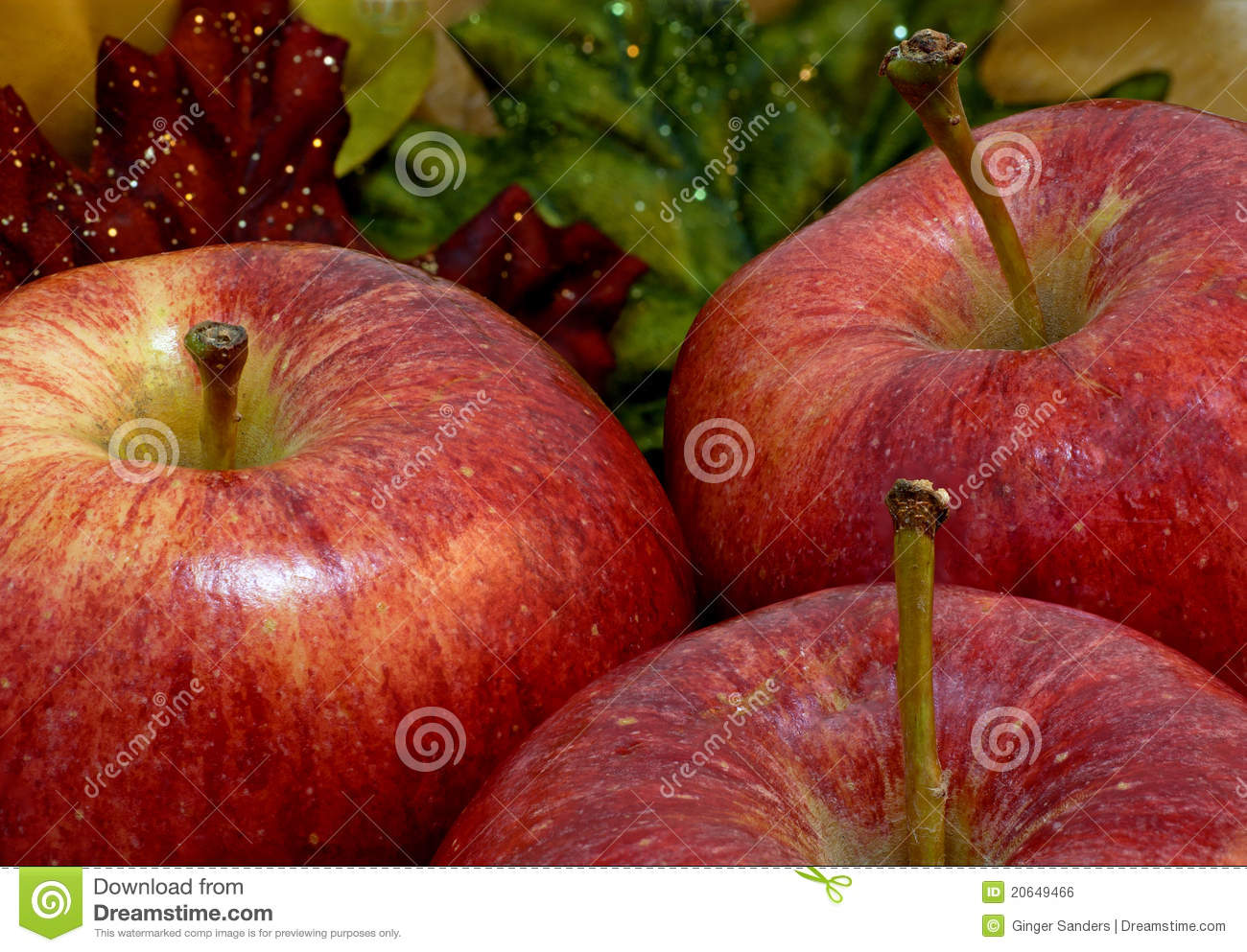 Three Autumn Apples With Fall Leaf Background