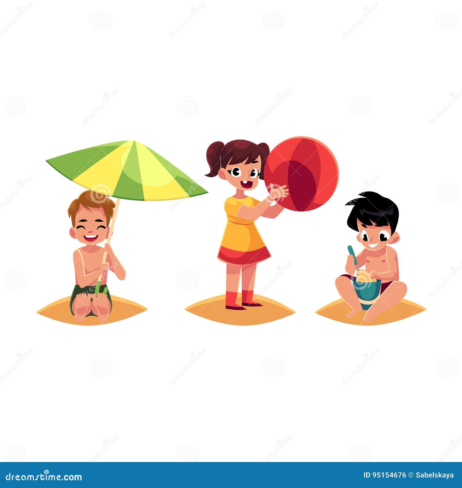 Three Babies Kids Boys And Girl Playing On Sandy Beach