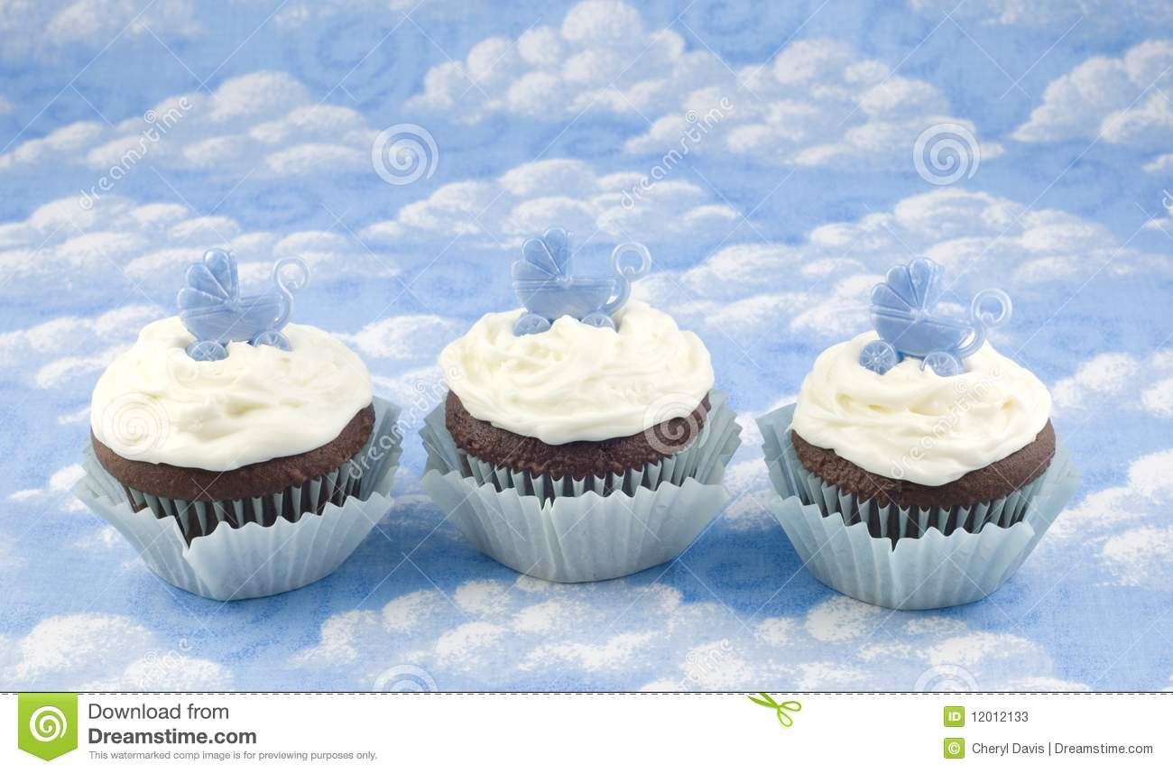 Three Baby Shower Cupcakes For Boy