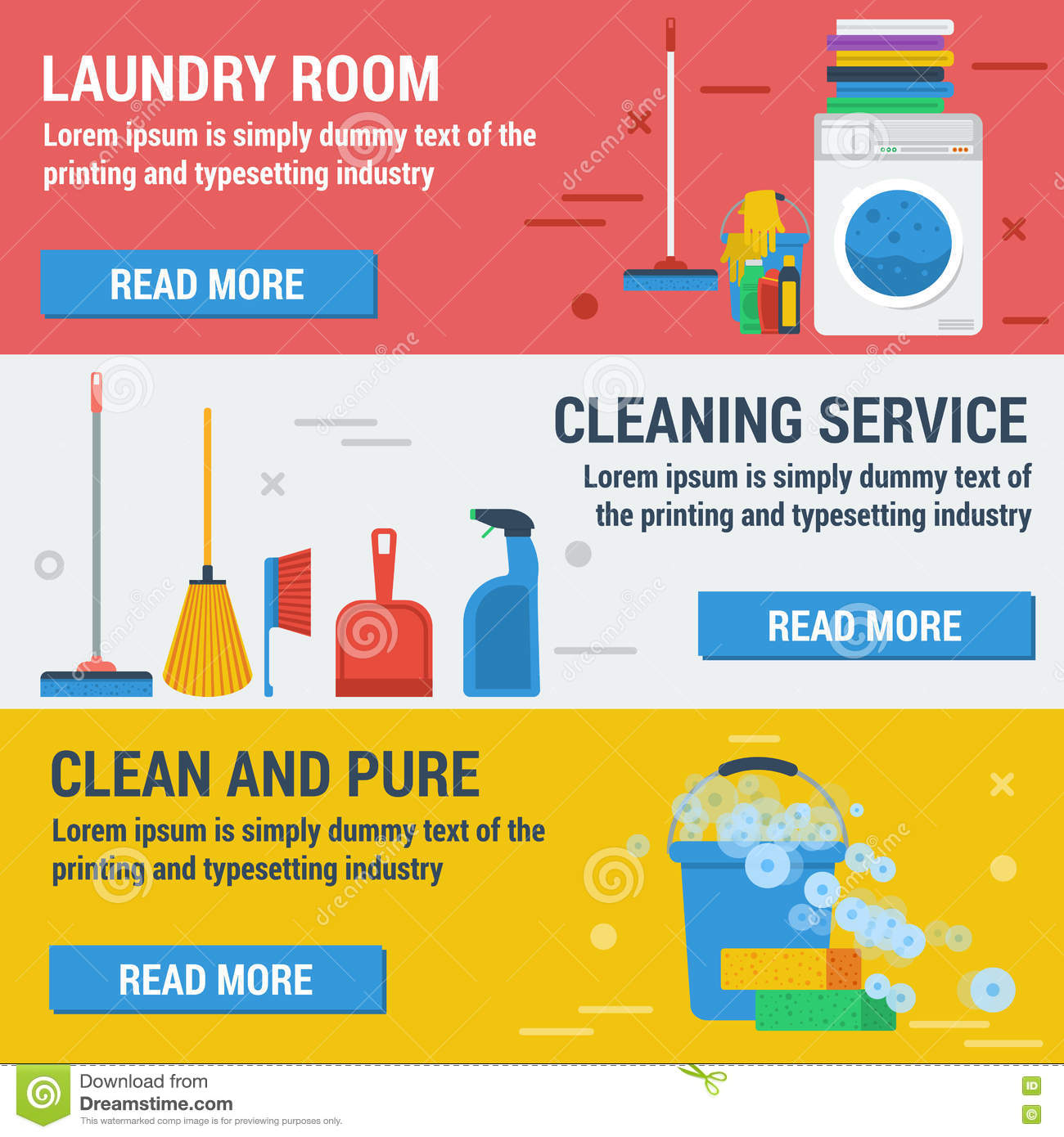 set banners laundry service poster template for house cleaning three banners laundry and cleaning royalty stock photo
