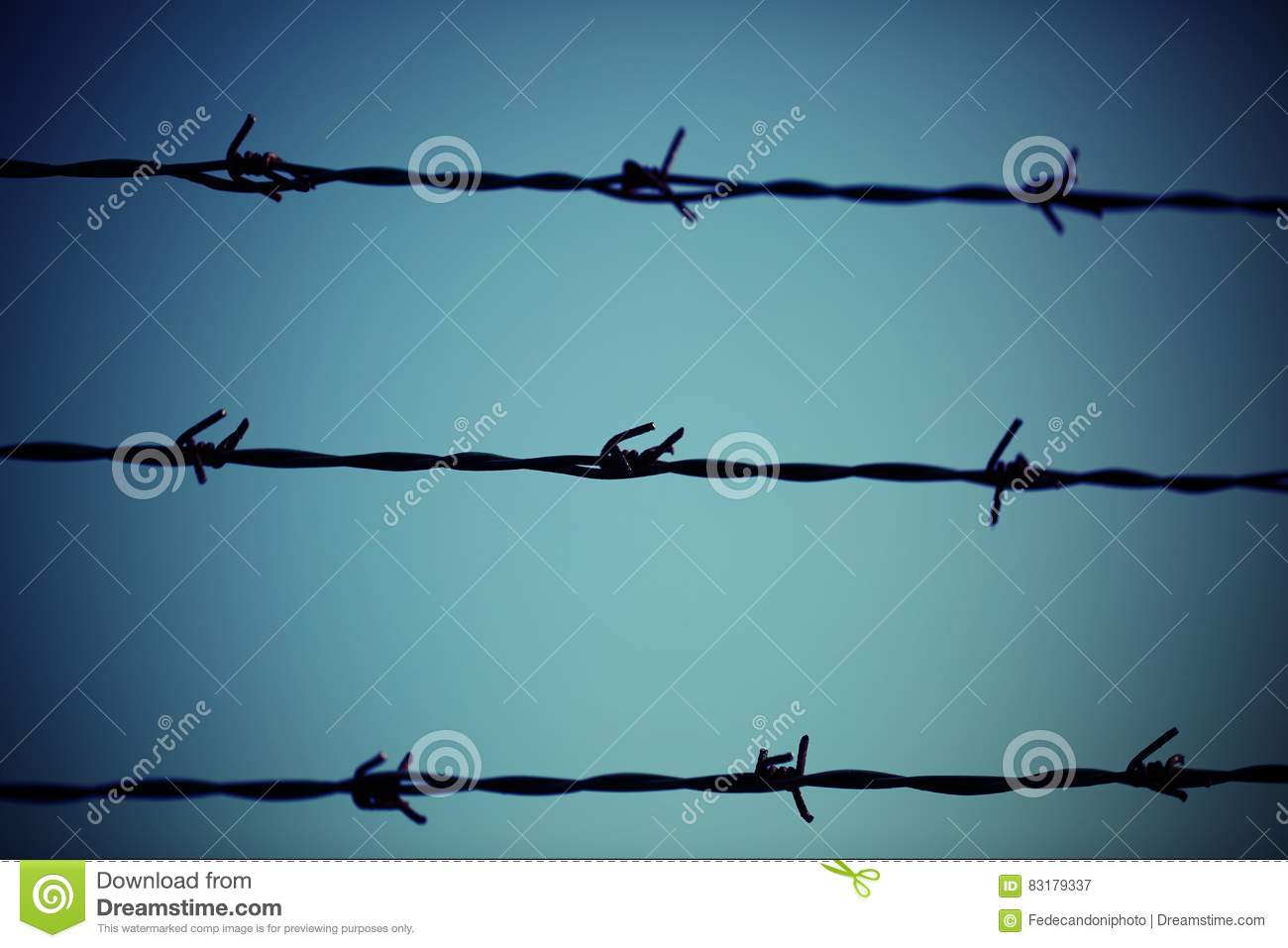 Three Barbed Wire Lines And Light Blue Background Stock Image ...