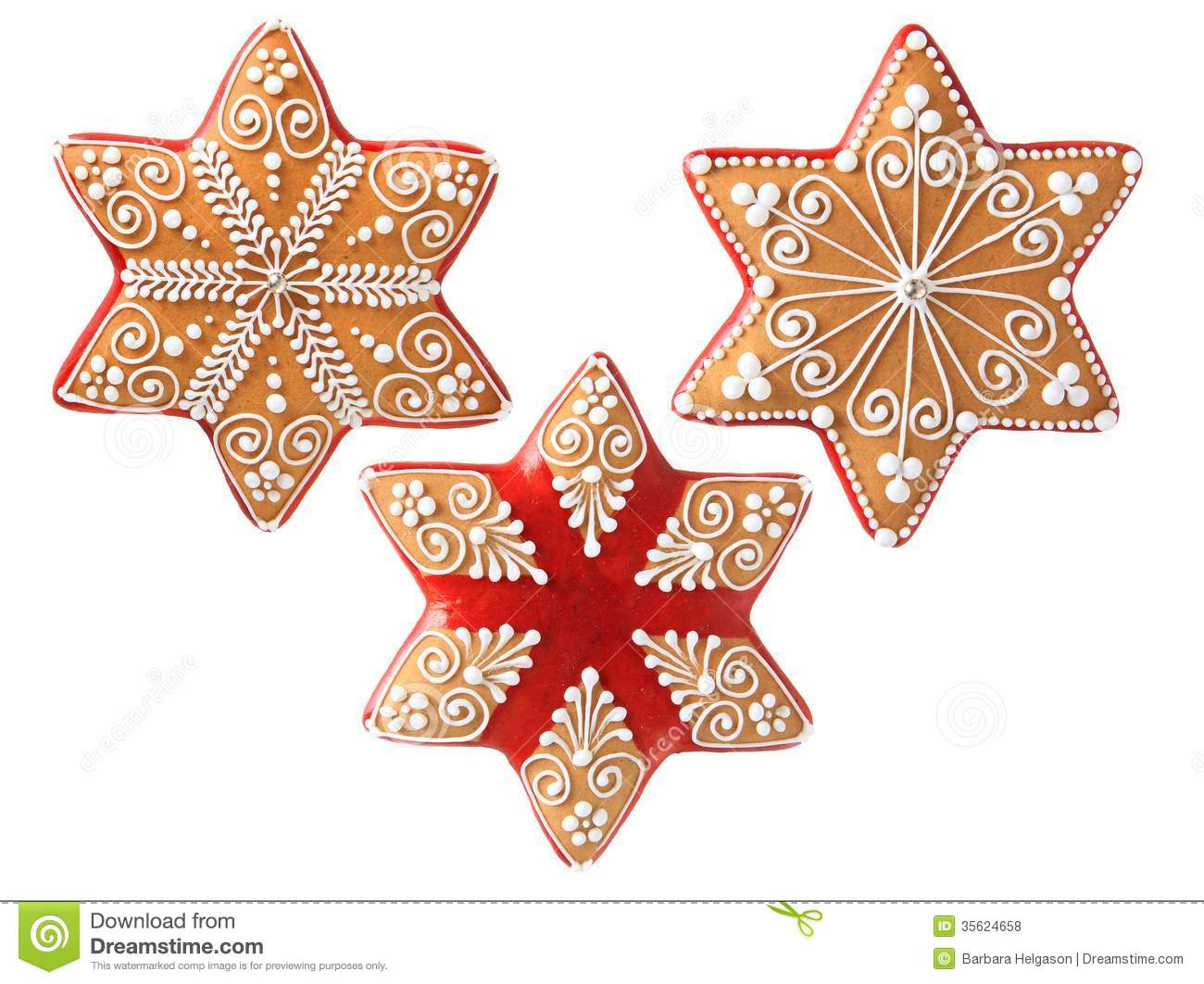 Three Beautiful Christmas Cookies Stock Photo Image Of
