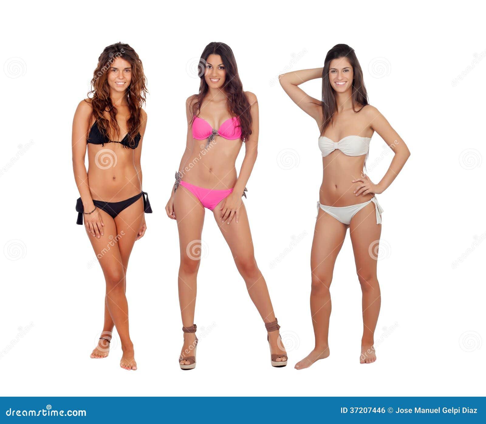 Three beautiful models in bikini