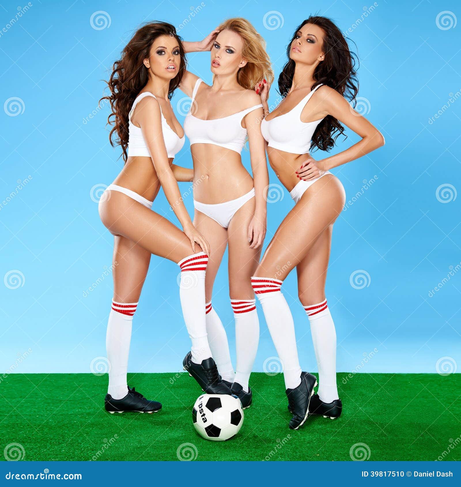 Three Beautiful Women Soccer Players Stock Photo