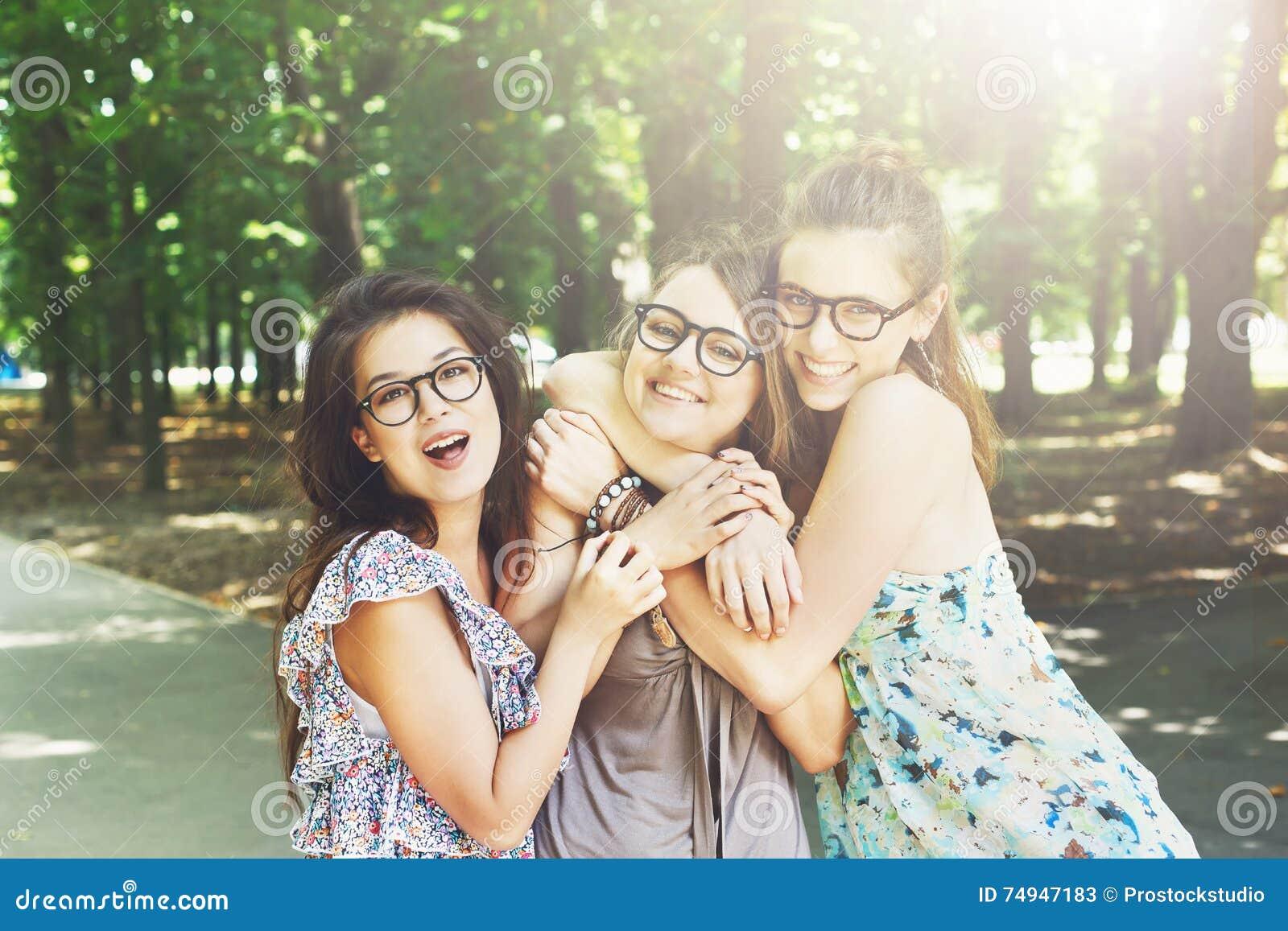 Three Beautiful Young Boho Chic Stylish Girls Walking In ...