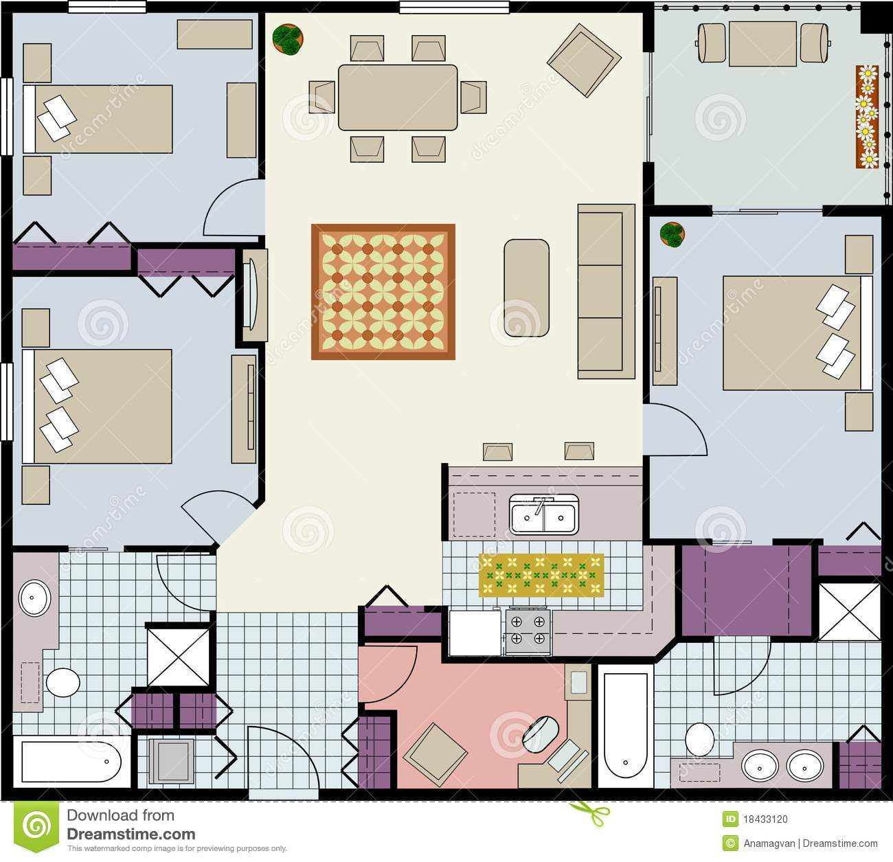 Three bedroom floor plan stock photo image 18433120 - Architectural plan of two bedroom flat with dining room ...