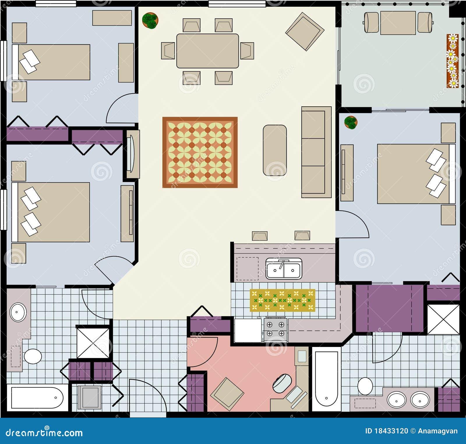Three bedroom floor plan stock photo image 18433120 - Bedroom architectural floor plans ...