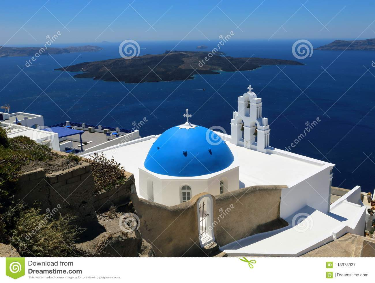 Three Bells Church at Santorini, Greece. Thira, Volcano, Aegean .