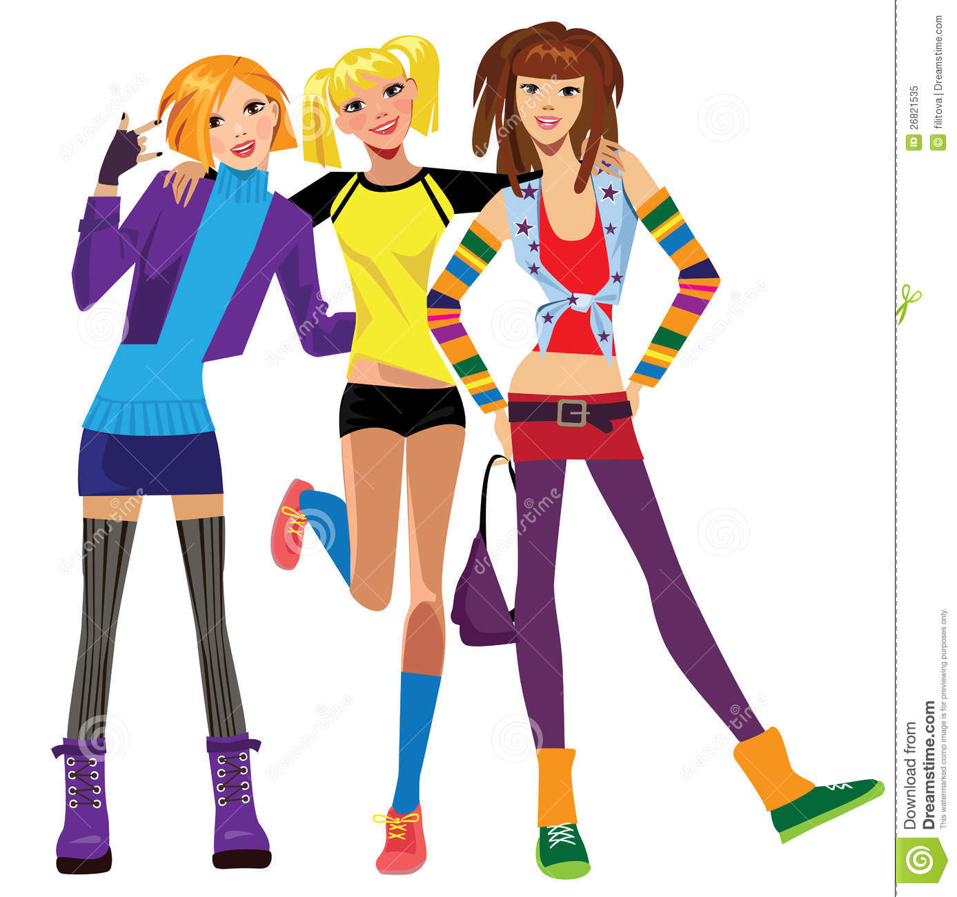 Three Best Friends Girls Stock Vector Illustration Of Group 26821535
