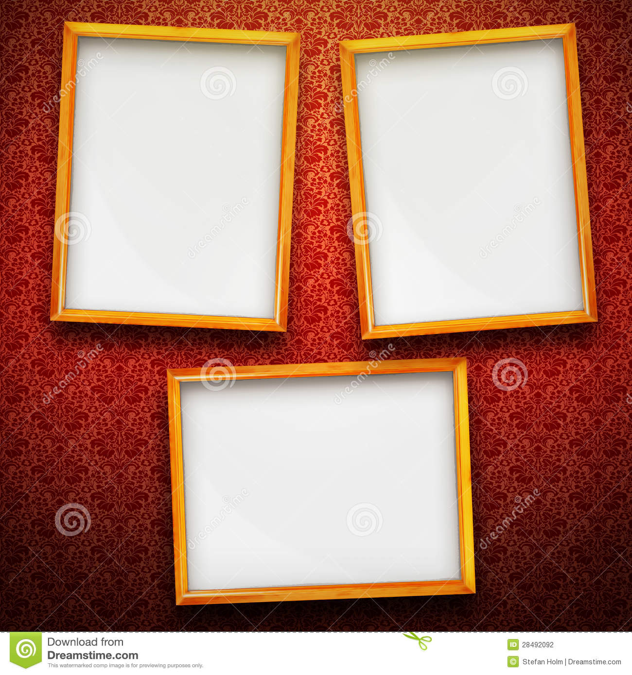 Three Big Frames On Vintage Background Stock Illustration