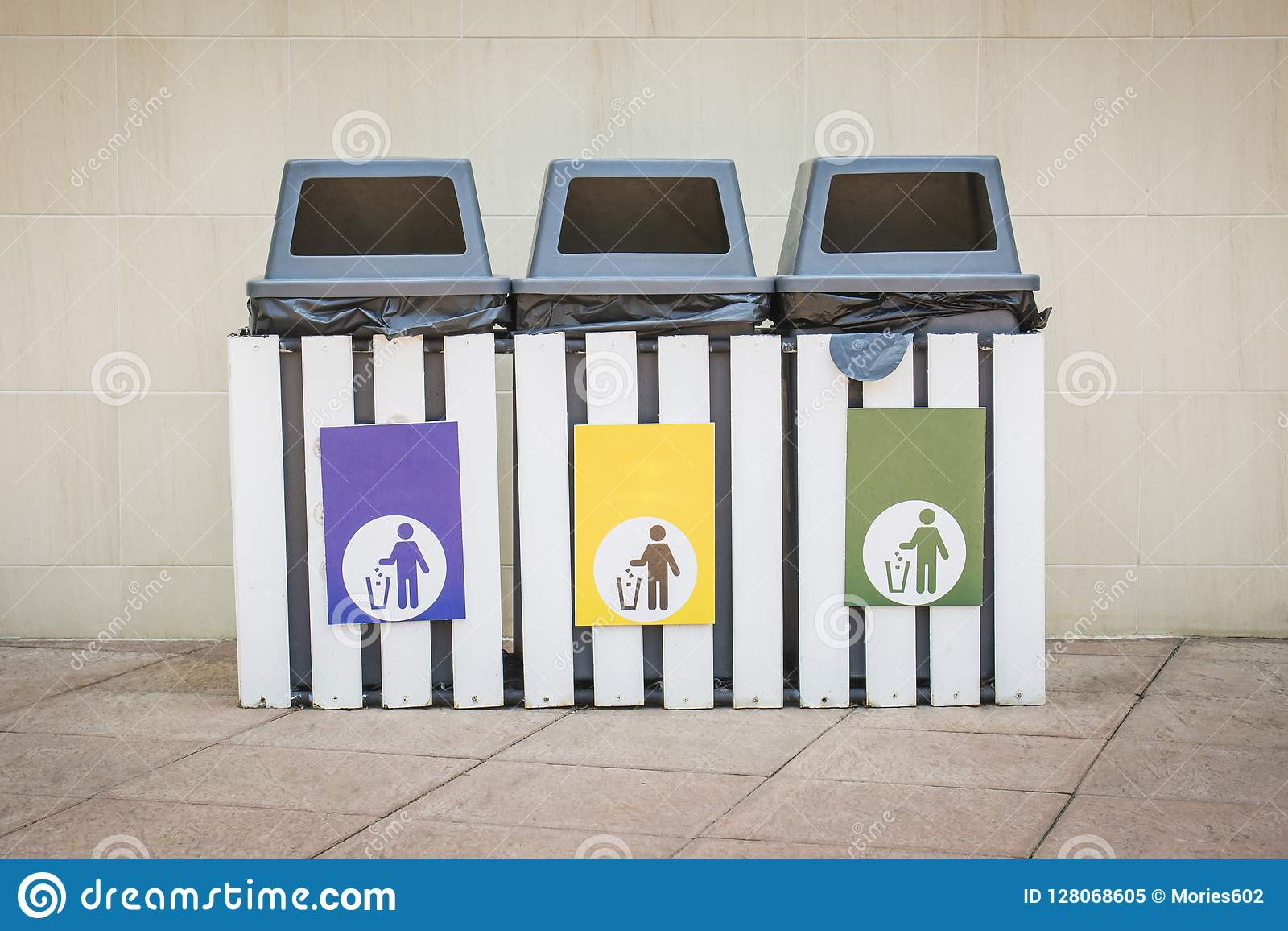 Three Bins With 3 Color Labels Stock Image - Image of outdoor, lawn