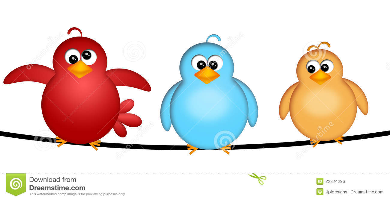 Three Birds on a Wire Cartoon Clipart Illustration Isolated on White ...
