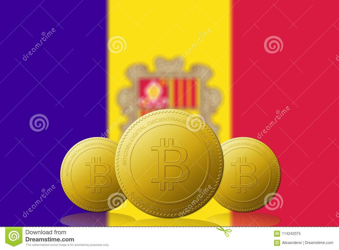 Three Bitcoins cryptocurrency with ANDORRA flag on background