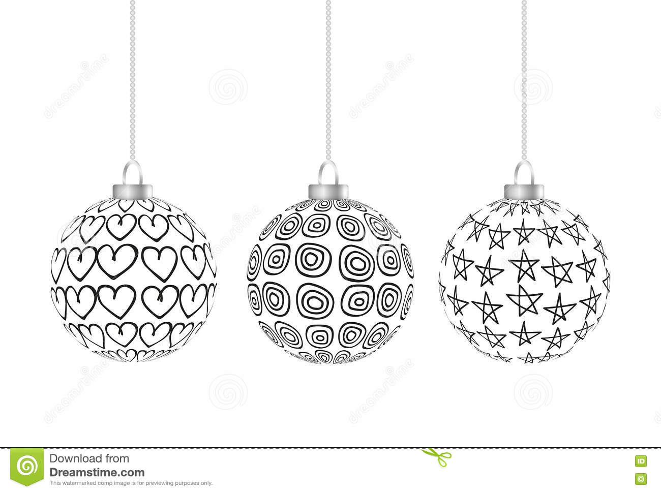 Three Black And White Christmas Balls Hanging Stock Illustration ...