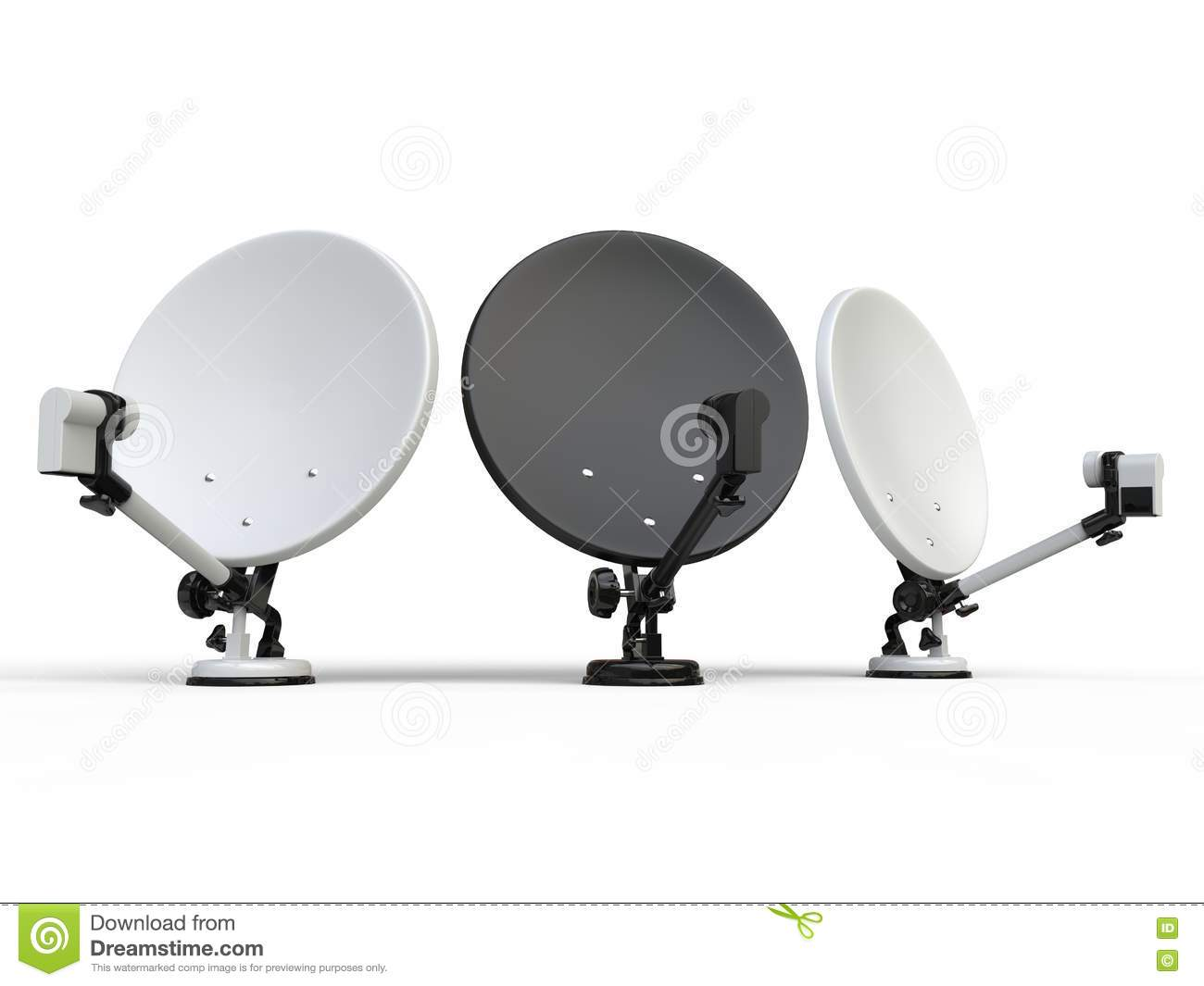 Dishes Cartoons Illustrations amp Vector Stock Images  : three black white tv satellite dishes isolated background 77882763 from cartoondealer.com size 1300 x 1065 jpeg 52kB