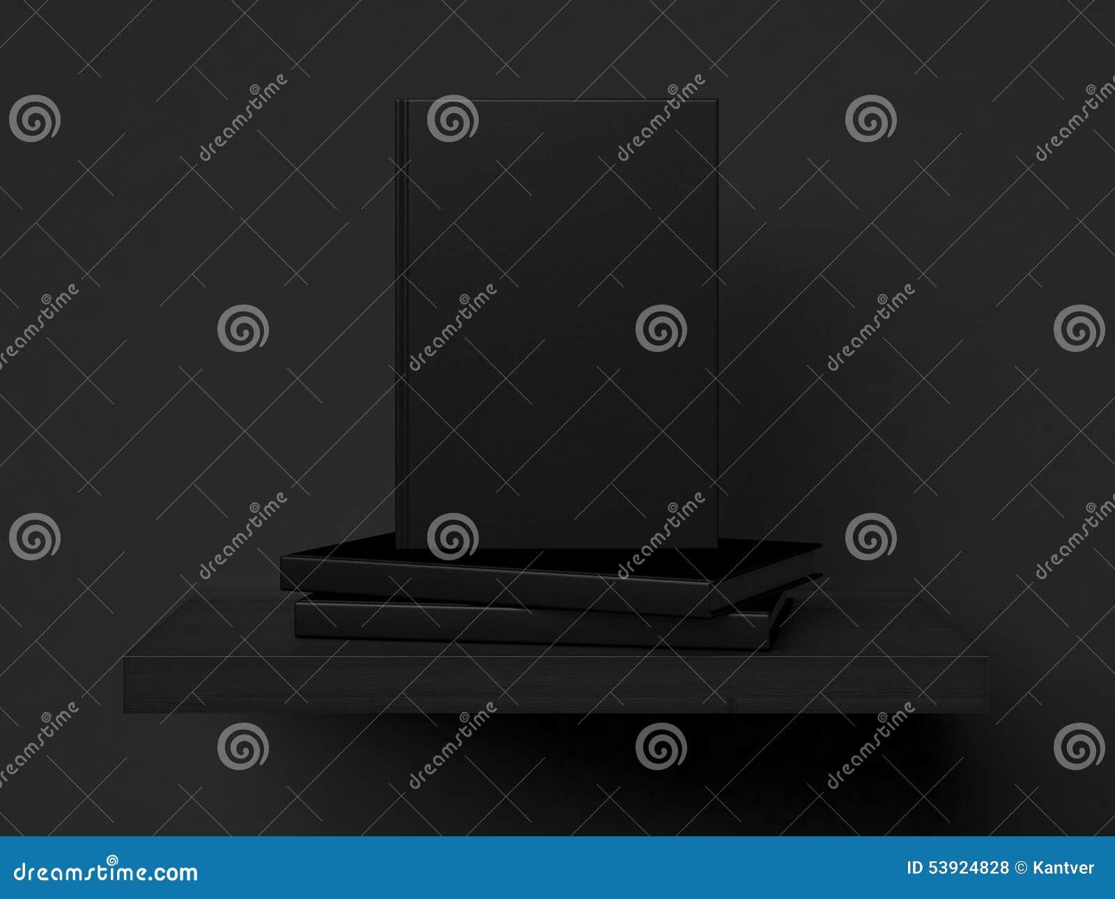 Three blank books on a shelf. 3d rendering