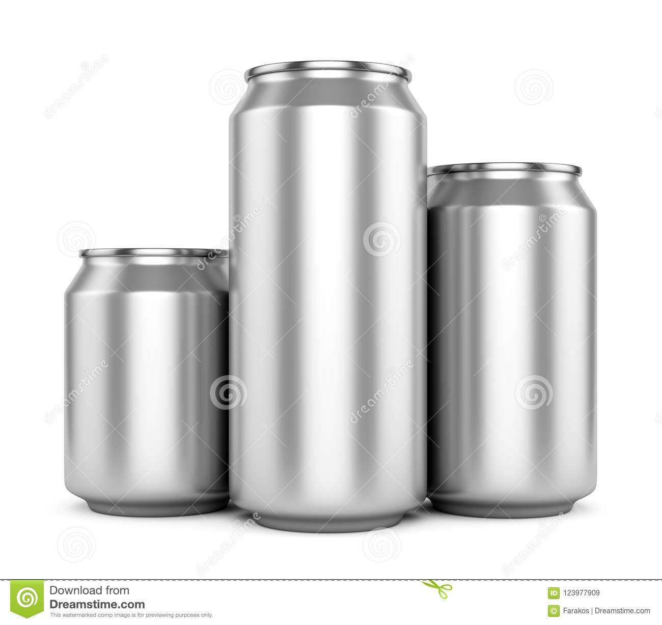 three blank metallic beer cans isolated on white stock illustration