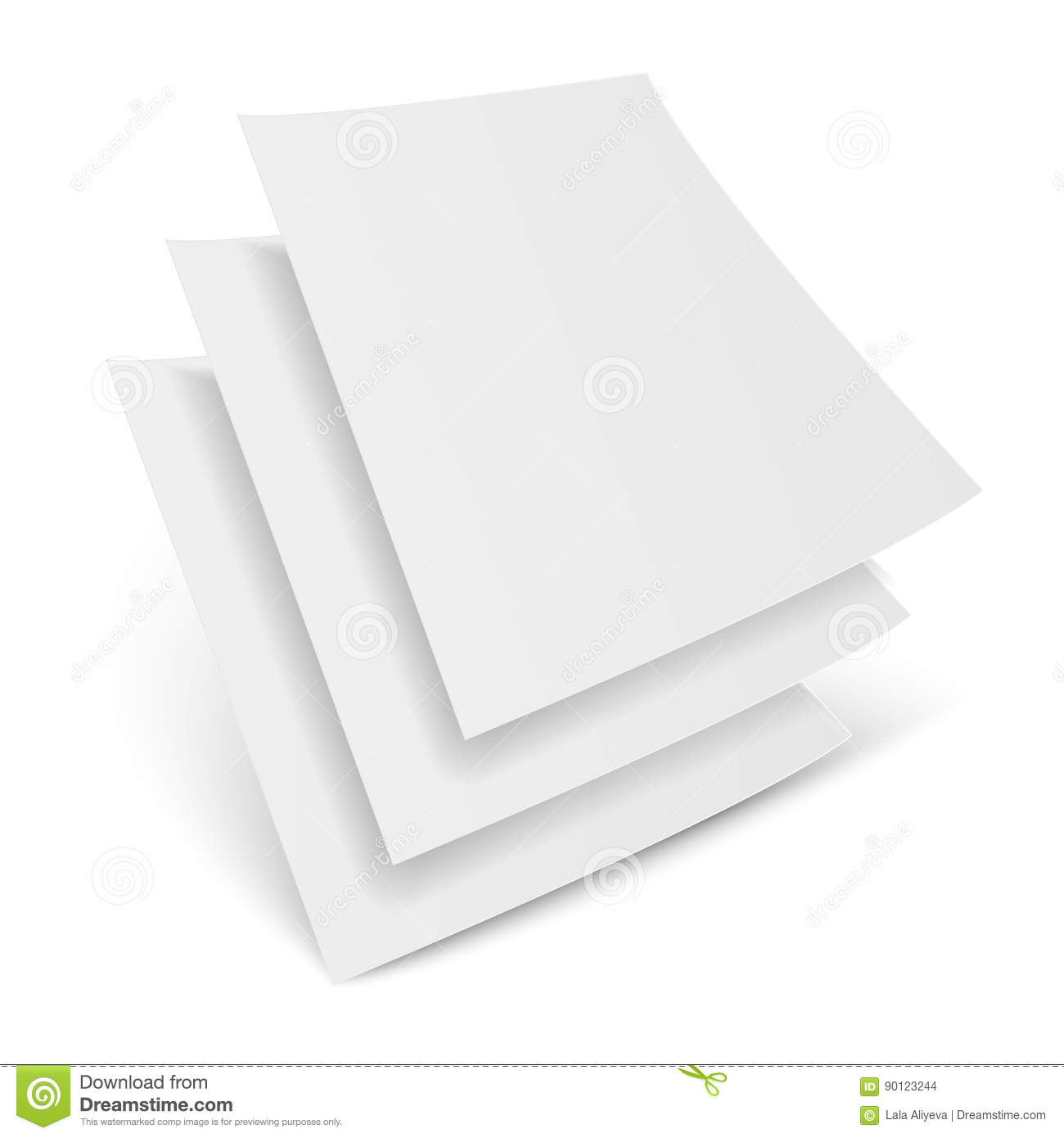 Three Blank Paper Leaflet, Flyer, Broadsheet, Flier, Follicle. Mock Up Template Ready For Your Design. Vector