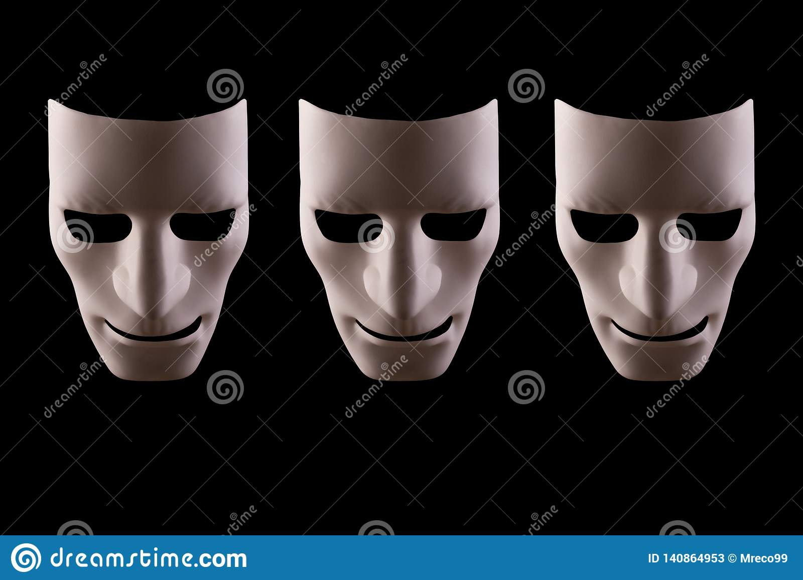 Three blank robot faces on a black background