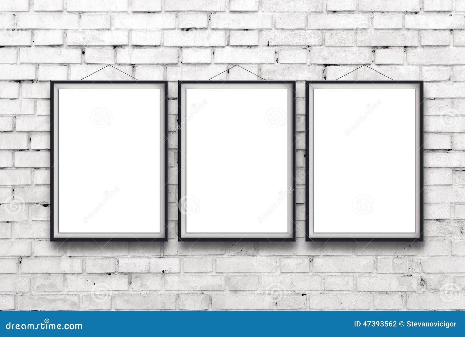 Three blank vertical paintings poster in black frame stock