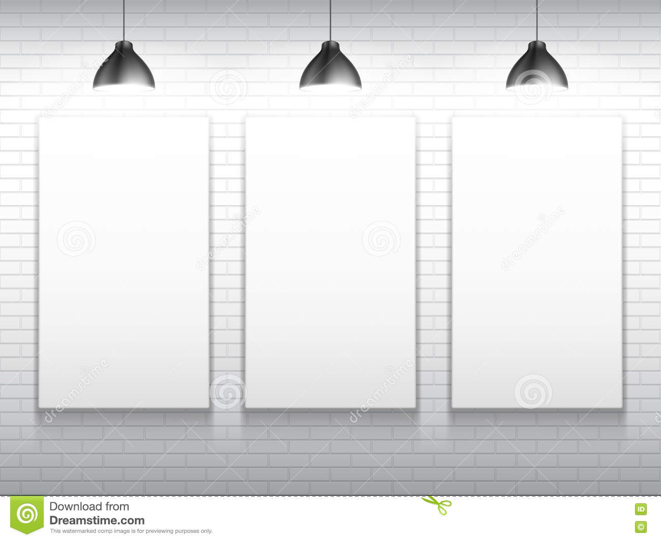 three blank white poster templates stock vector illustration of