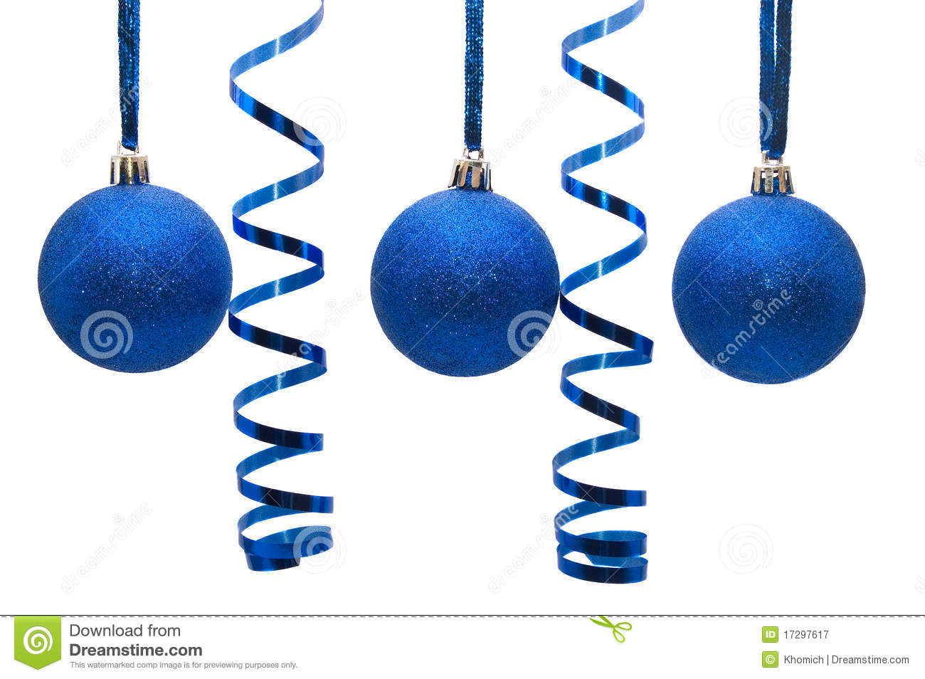 Three blue christmas balls with curly ribbon royalty free for Blaue christbaumkugeln