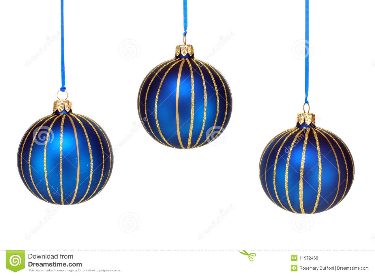 Three Blue And Gold Christmas Ornaments White Stock