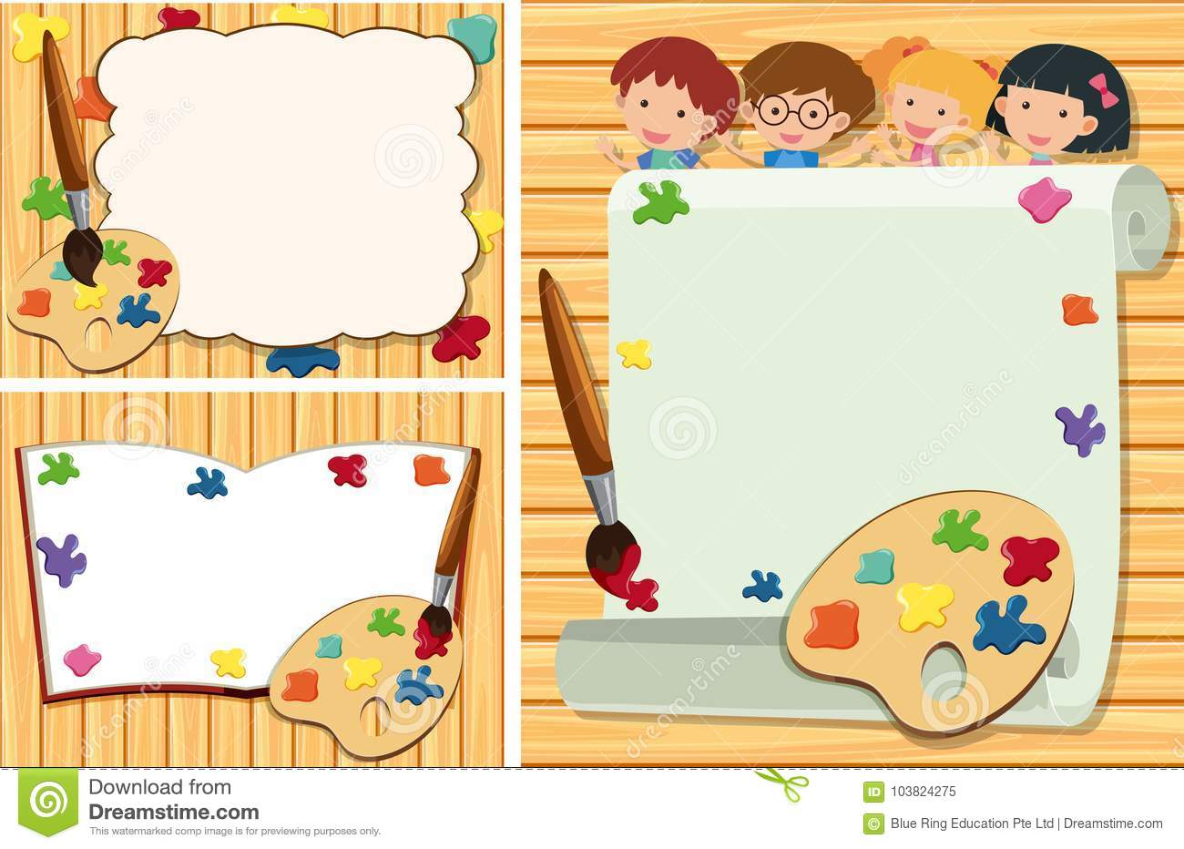 Three Border Templates With Kids And Paint Palette Stock Vector ...