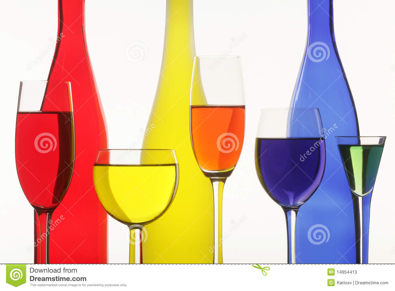 Three bottles and five wine-glasses