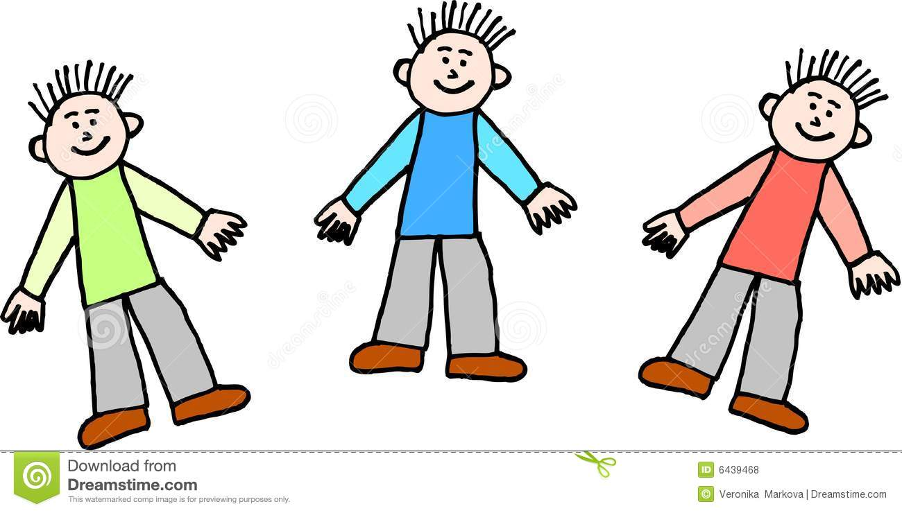 Three boys stock vector image of illustration isolated for Clipart gratis download