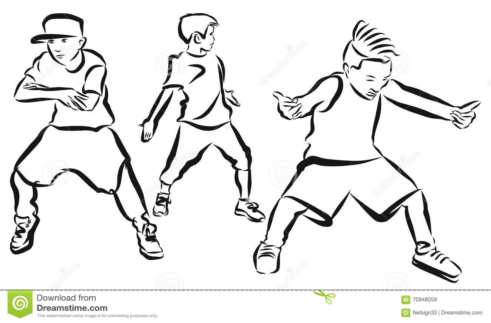 three boys coloring page hip hop choreography stock vector