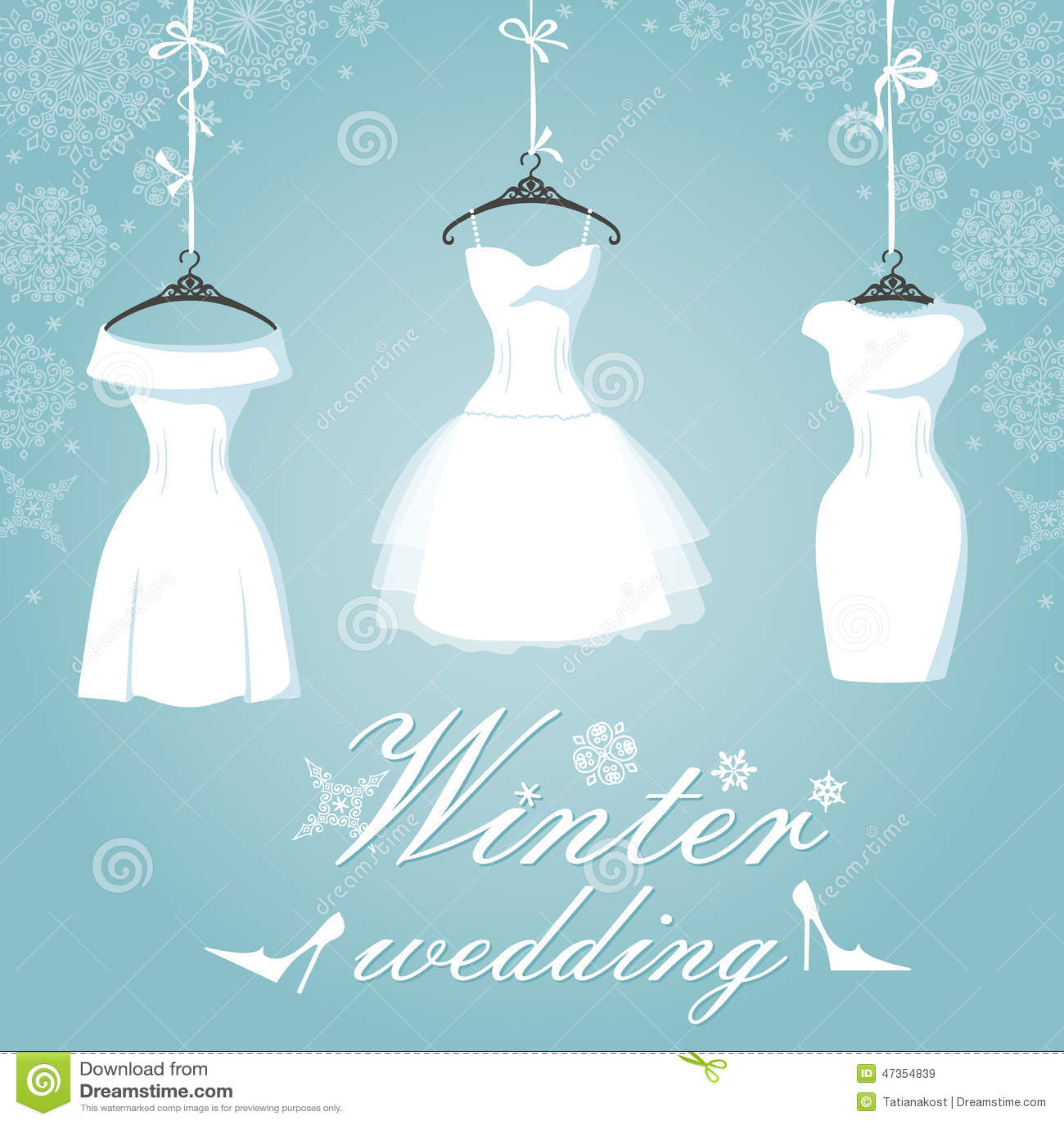 Three Bridal Dress.Winter Wedding.Snowflake Stock Image - Image of ...