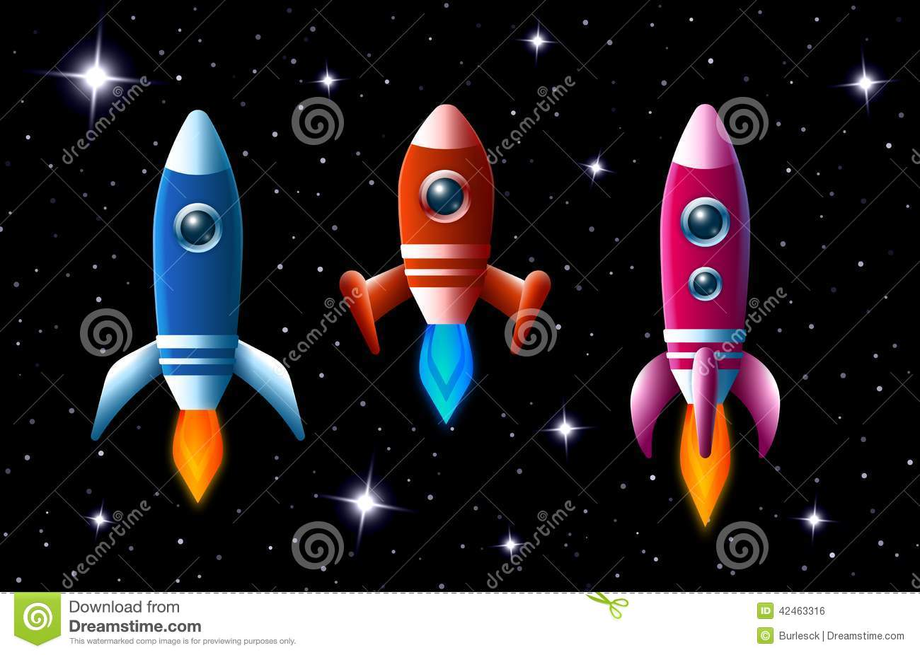 Three Brightly Colored Rockets In Outer Space Stock Vector ...