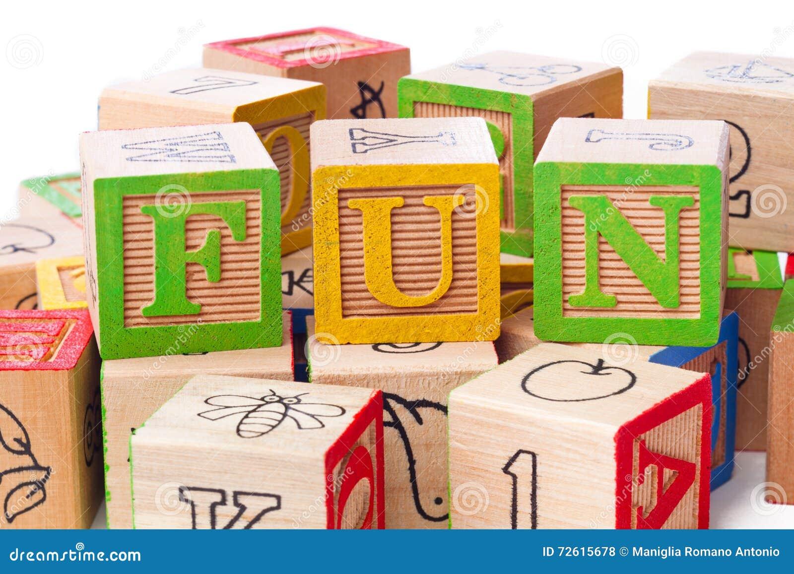 Three building blocks forming a word fun
