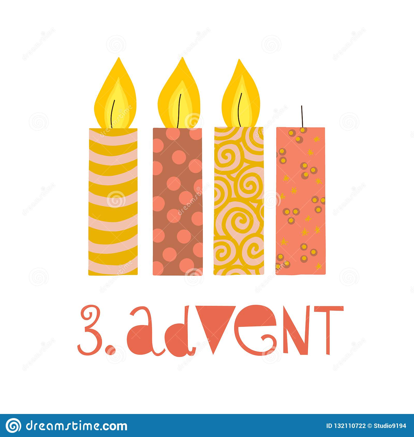 three burning advent candles vector illustration third. Black Bedroom Furniture Sets. Home Design Ideas