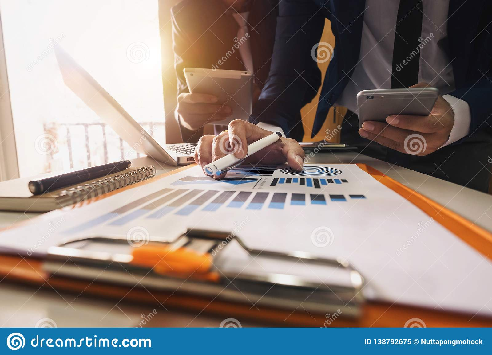Three business meeting professional investor working together
