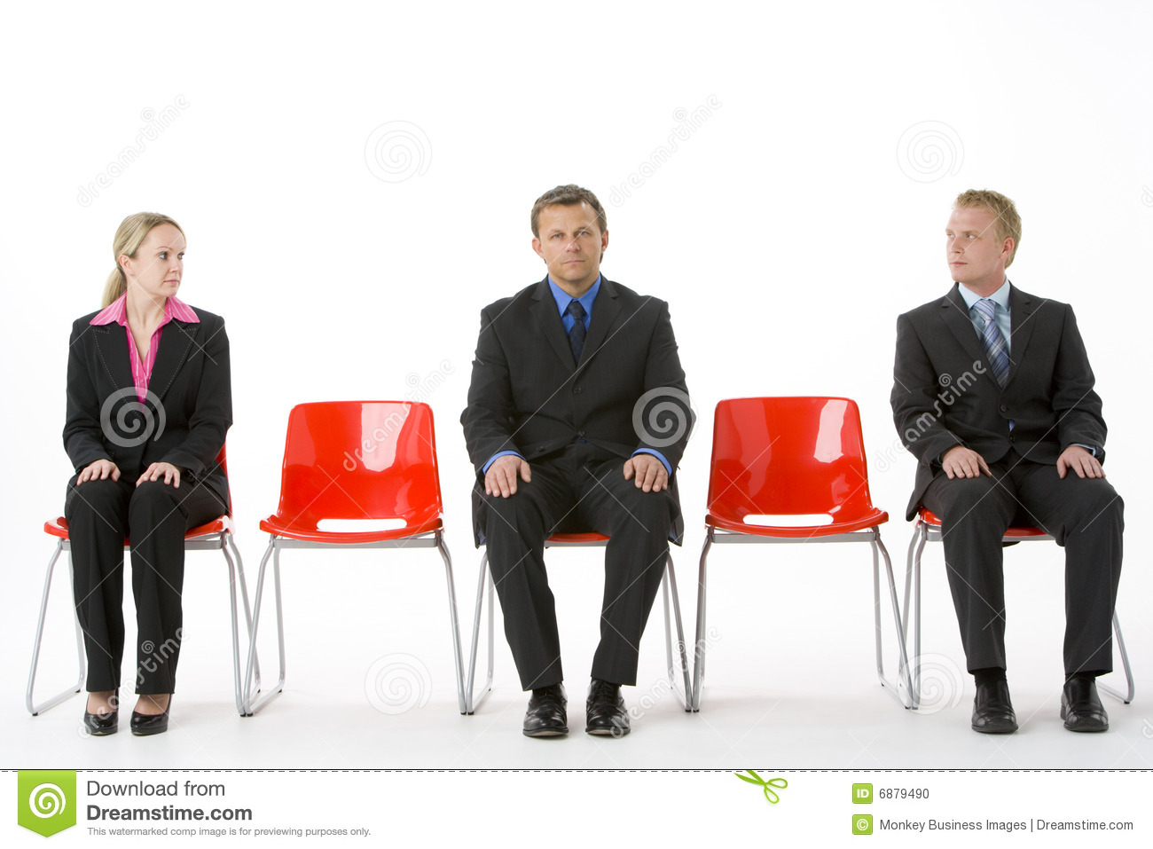 three business people sitting on red plastic seats stock photo   image