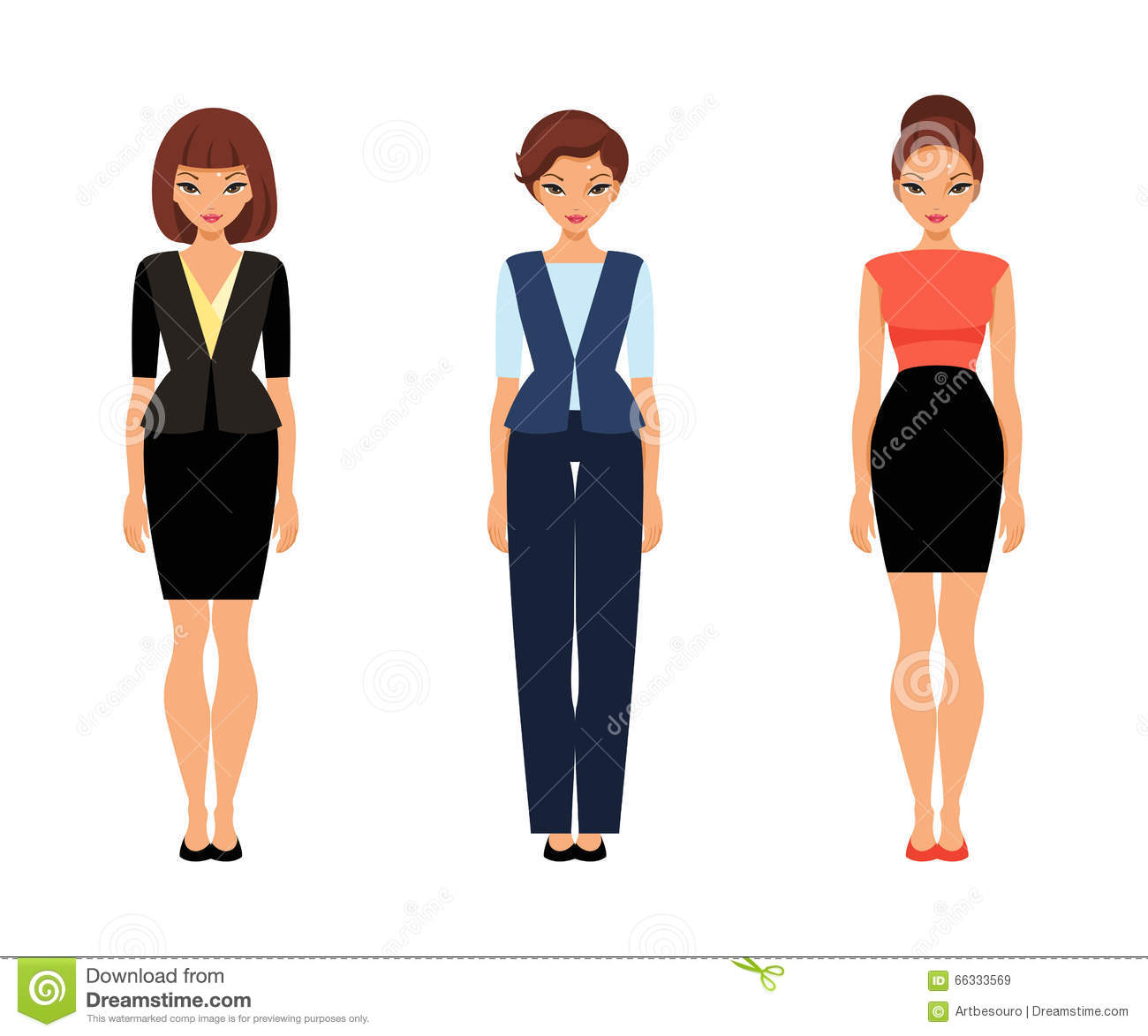 Three business women in office clothes stock vector for Paper doll template woman