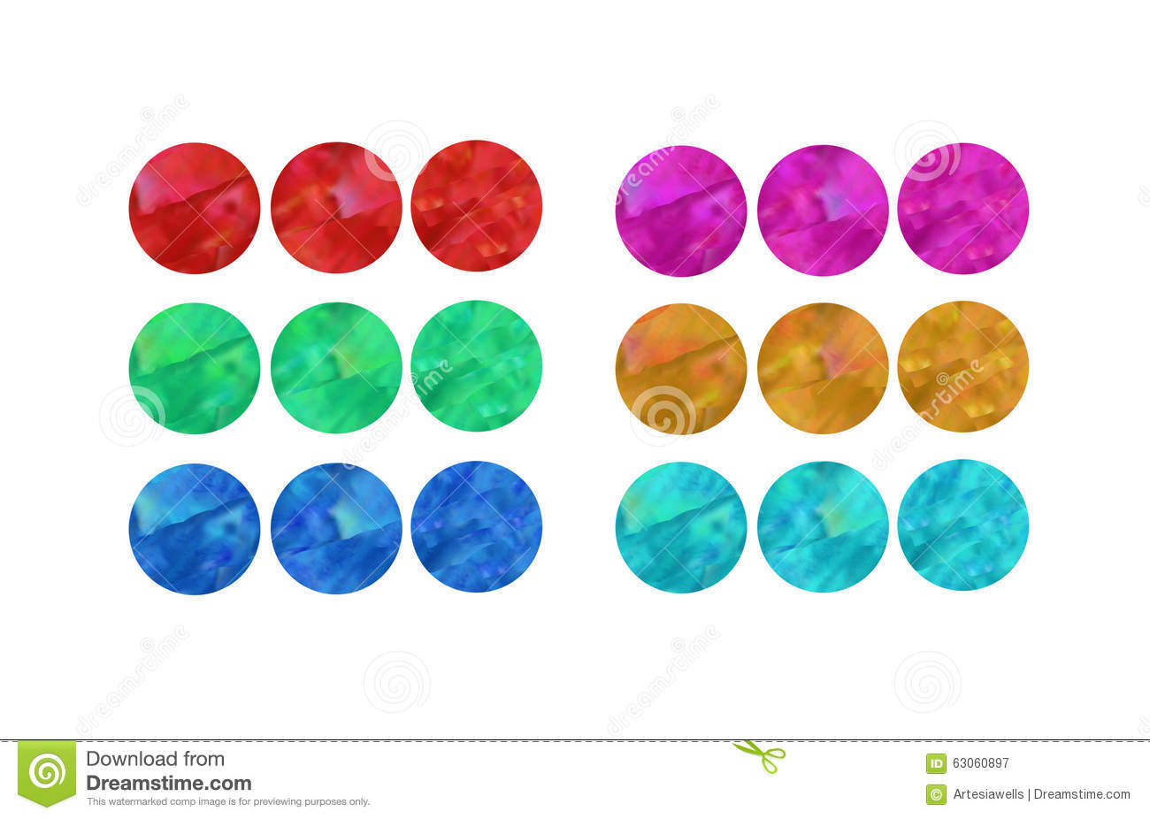 Three Buttons Chart Stock Illustration Image 63060897