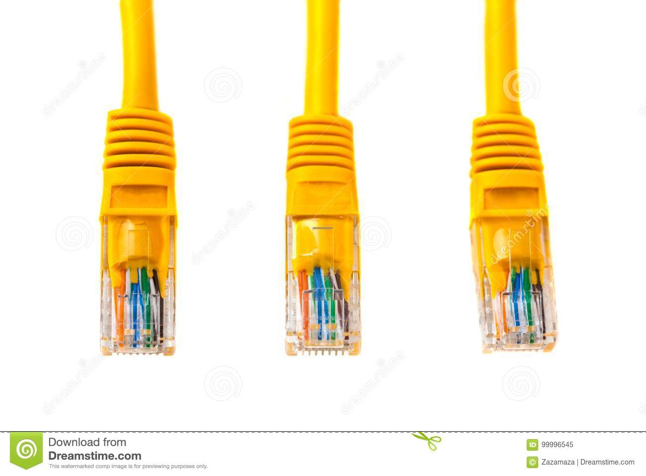 Wiring Up Rj45 Plug Smart Diagrams Cat6 Cable Three Heads Into Head Of An Ethernet Wire Or Yellow Rh Dreamstime Com Connector