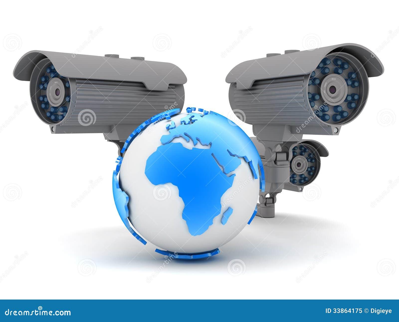 Three cameras and earth globe